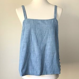 Madewell Chambray Blue Side Button Camisole Tank M